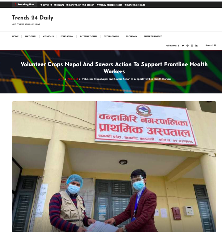 Volunteer Corps Nepal And Sowers Action To Support Frontline Health Workers